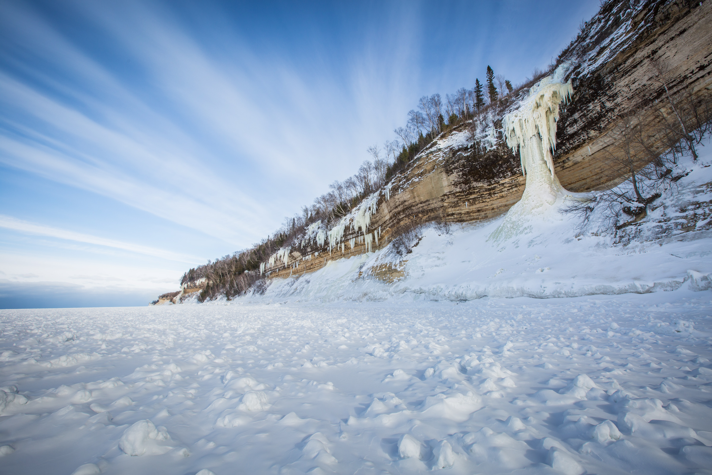 "One of the largest and most notable ice climbing routes along the Michigan lakeshore, ""Dairyland."""