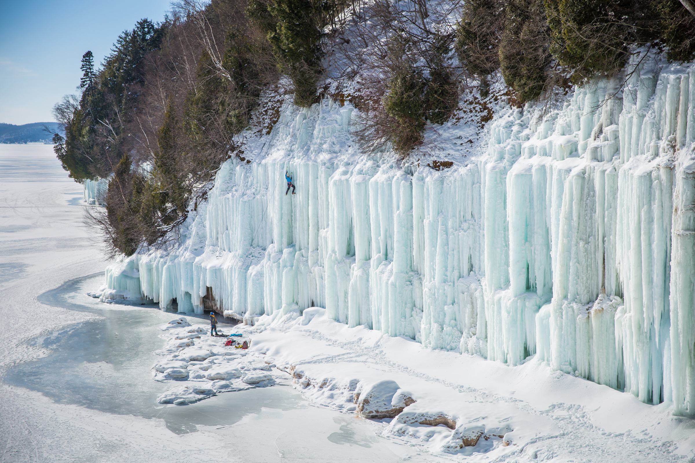 The East Channel ice climbs of Grand Island, Michigan.