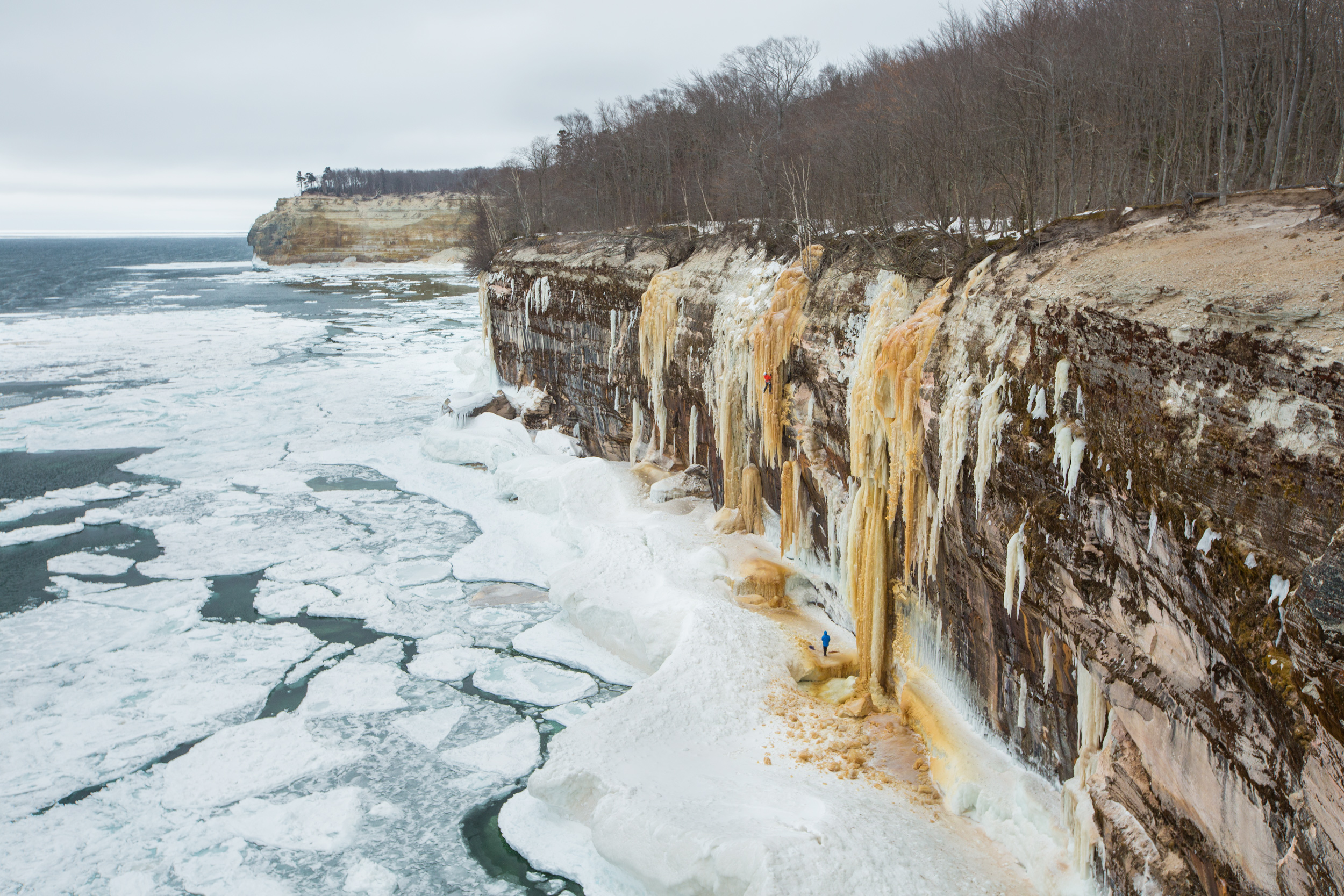 "Raphael Slawinski climbs ""Resurrection"" along the Pictured Rocks National Lakeshore in Munising, Michigan."