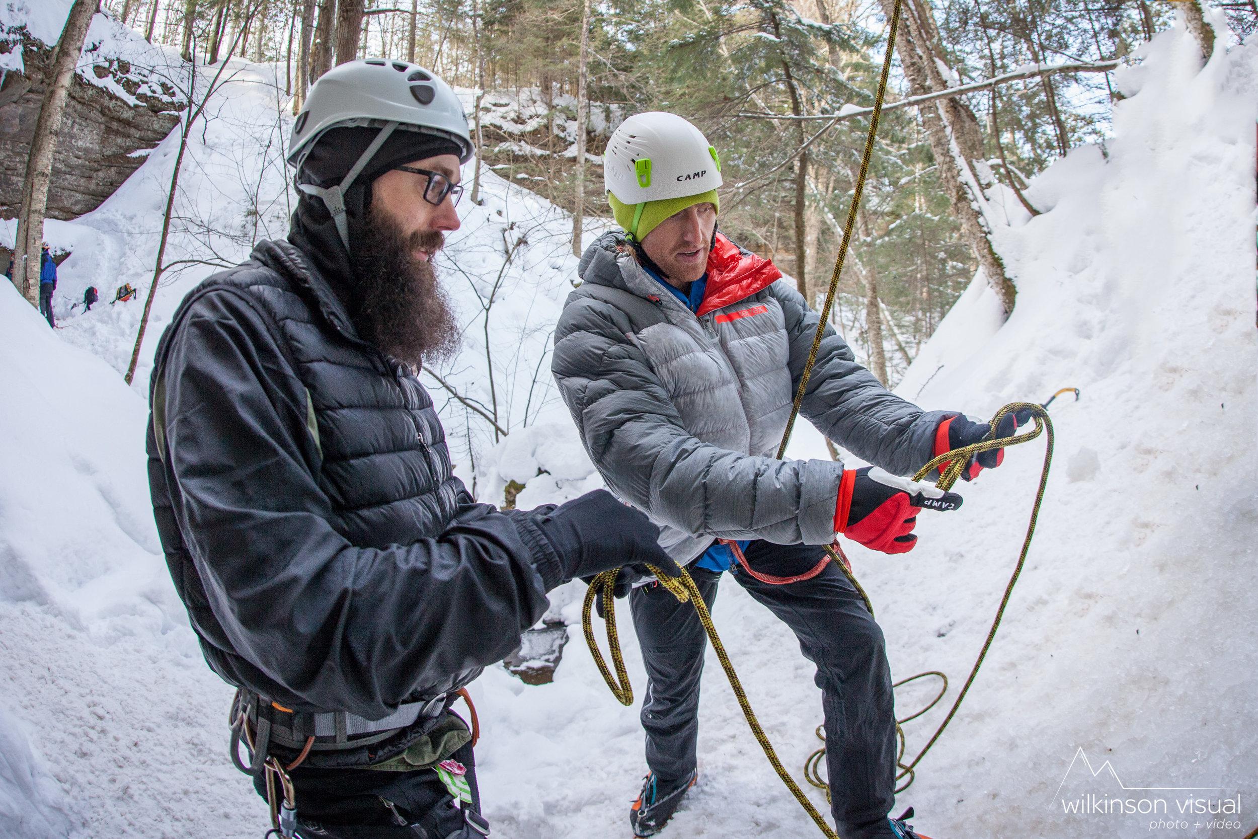 CAMP athlete Ben Edrmann teaches ice climbing in Michigan.