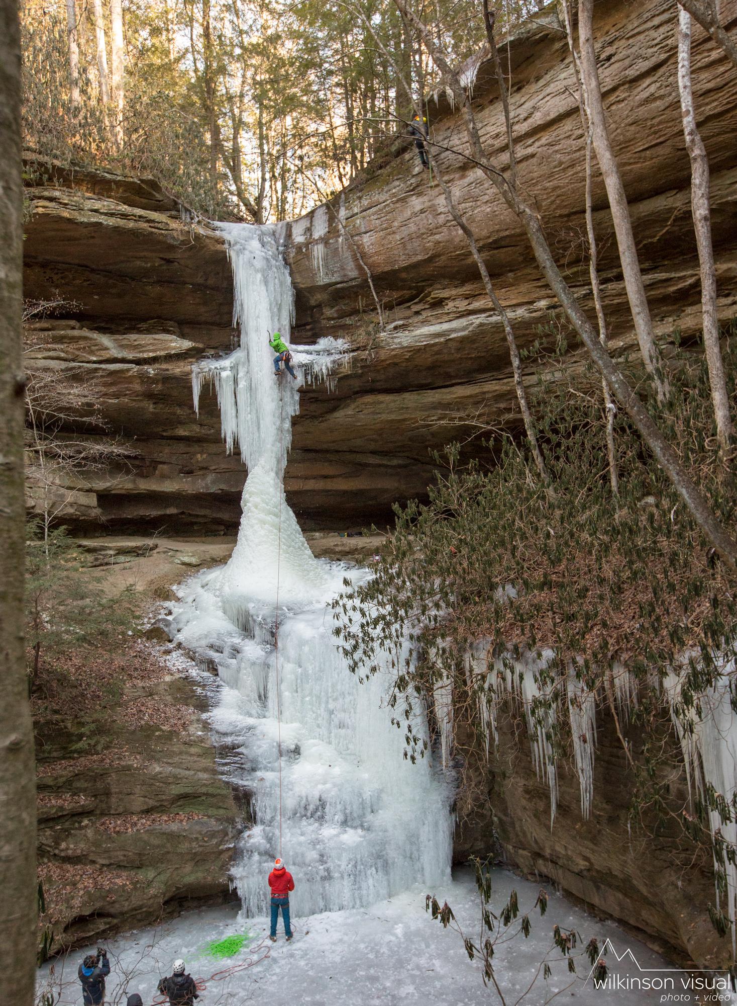 An ice climb in Muir Valley, Kentucky.