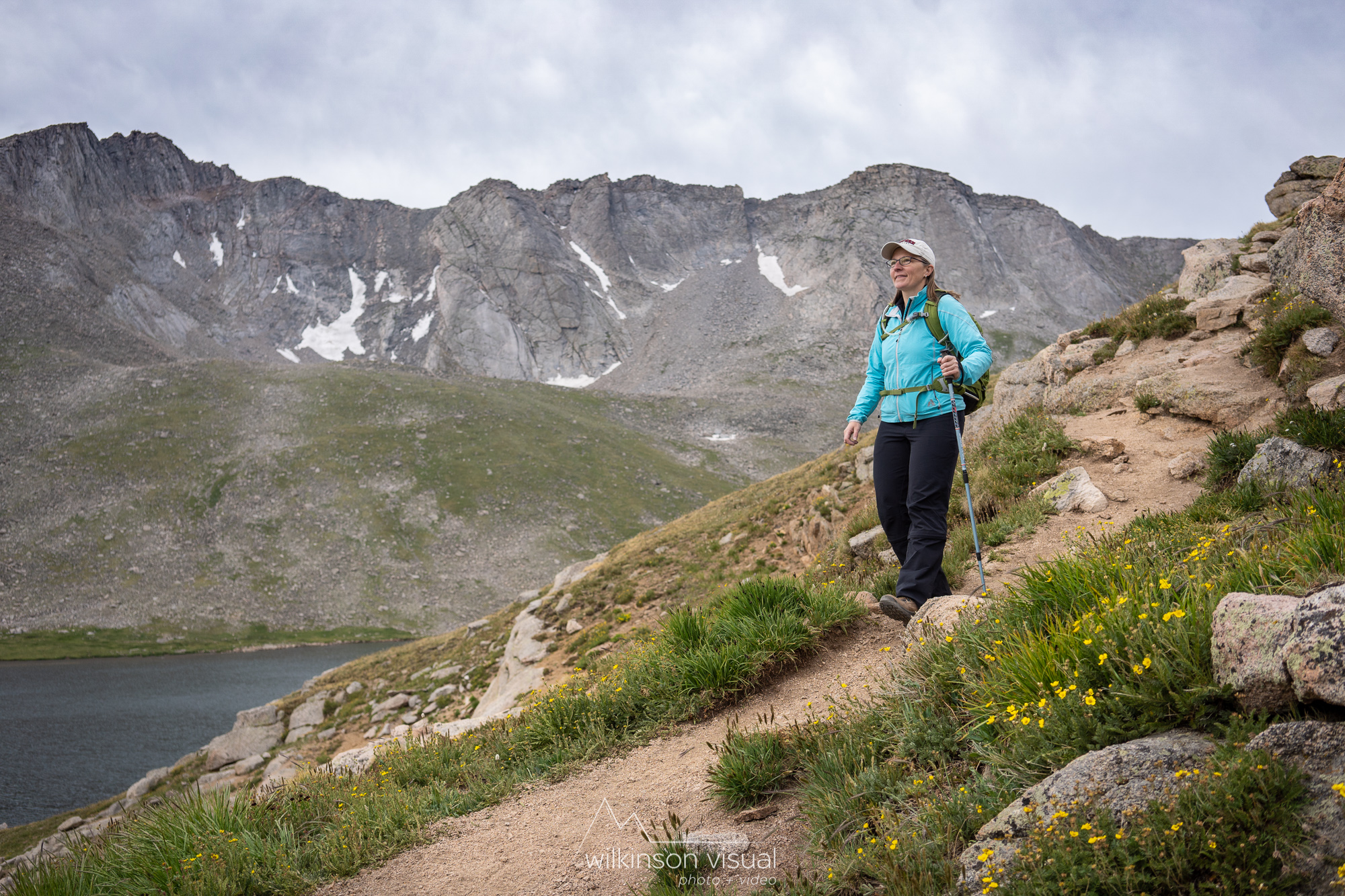 Hiking along the ridge trail from Summit Lake to the top of Mt. Evans, seen in the background here.