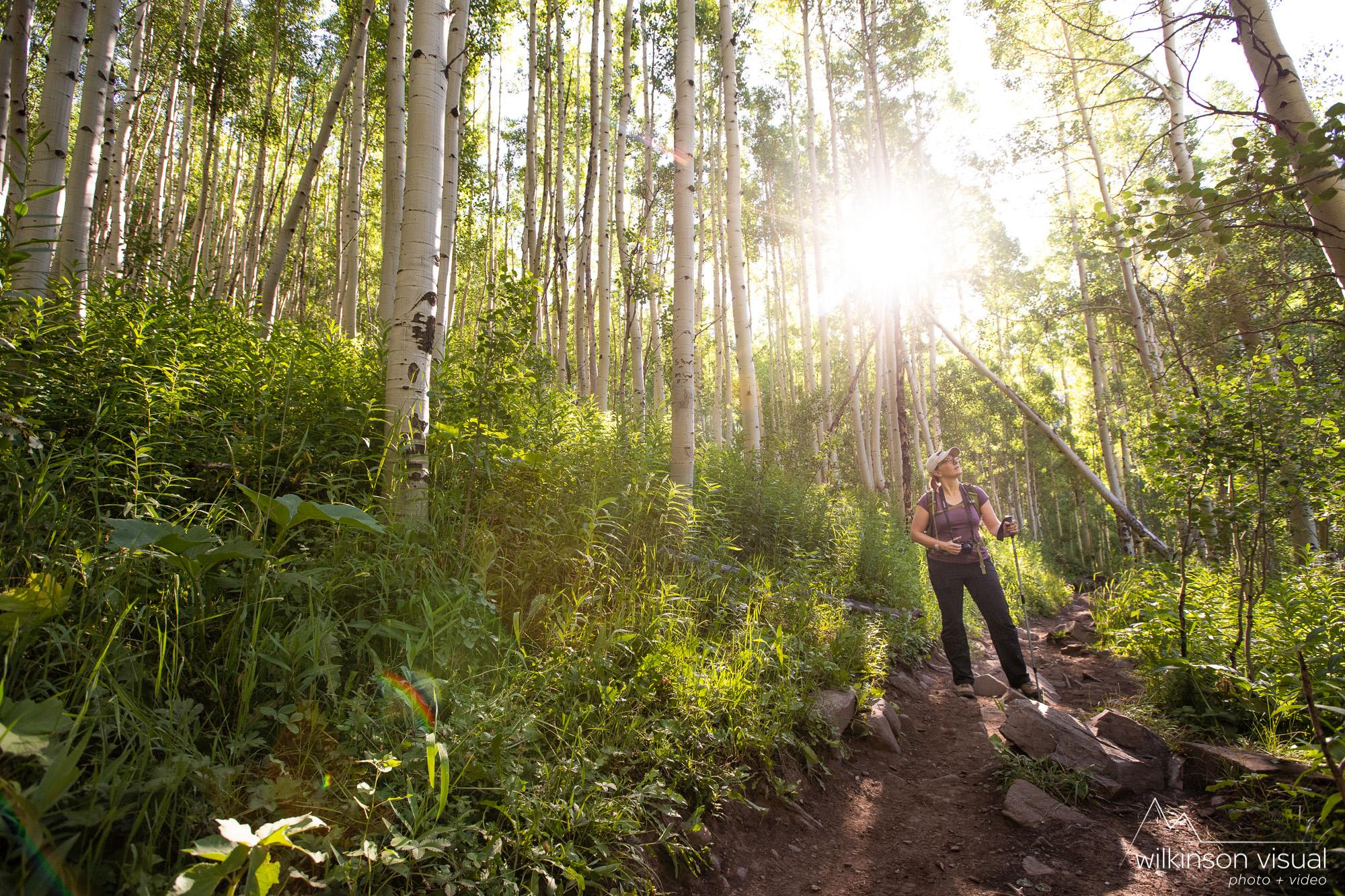 Jen Meunier hikes along a trail near the Maroon Bells in Colorado.