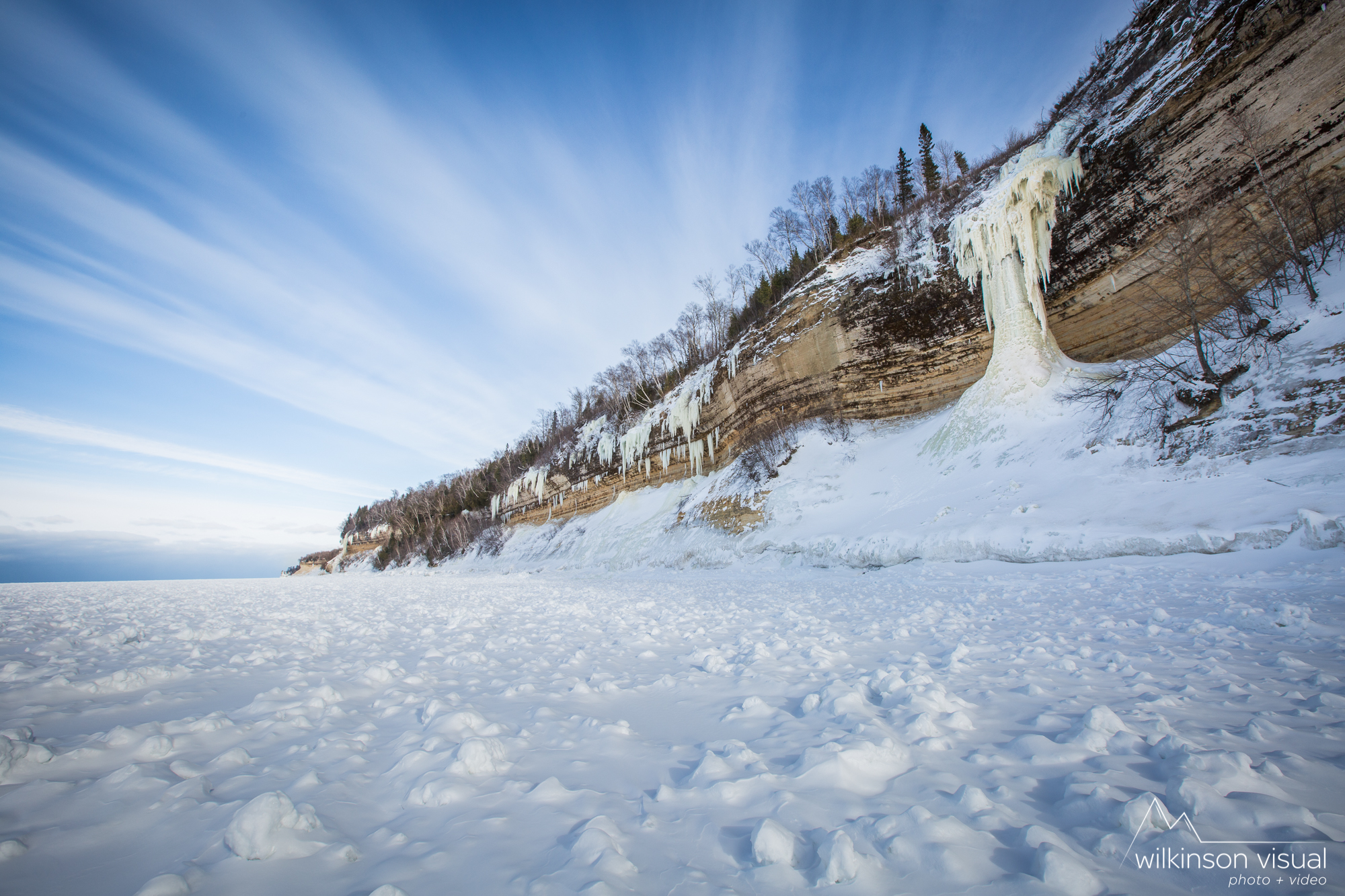 The lakeshore along Pictured Rocks during winter of 2018. Climb shown is Dairyland.