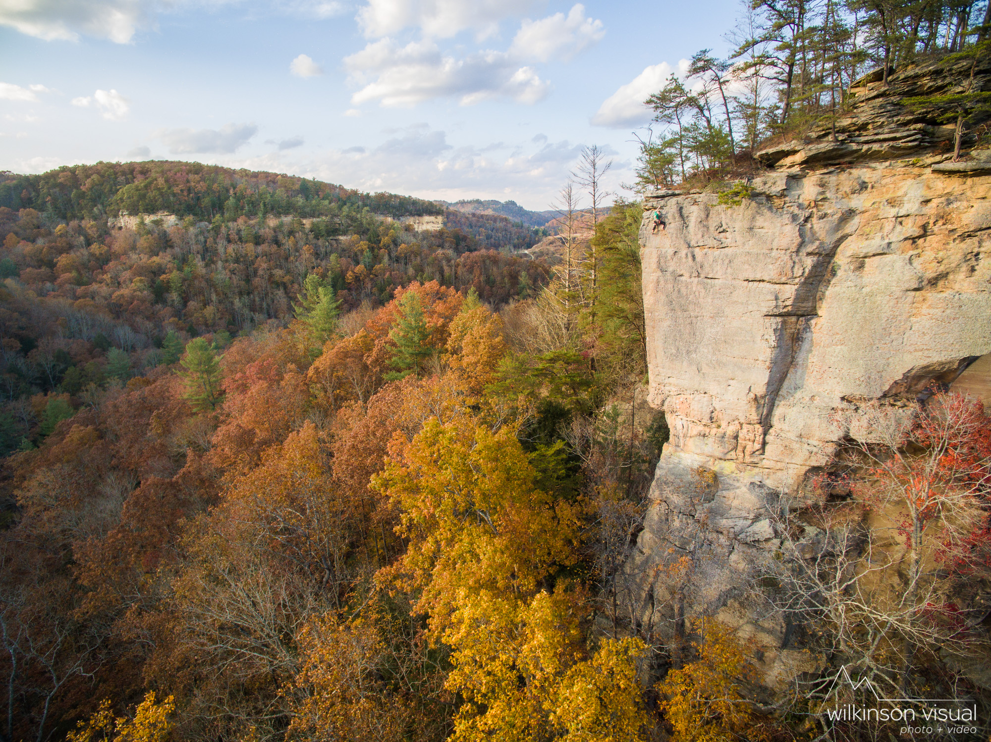 """The climb """"No Place Like Home"""" in the Red River Gorge. Climber is Matt Hodges."""