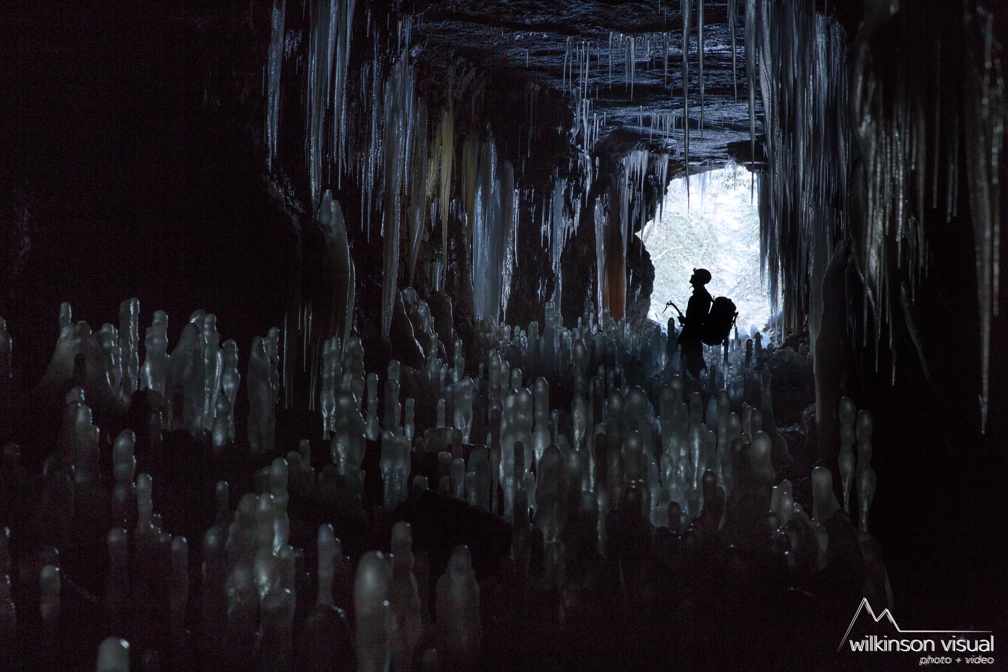 Erik Kloeker in an ice cave in Kentucky.