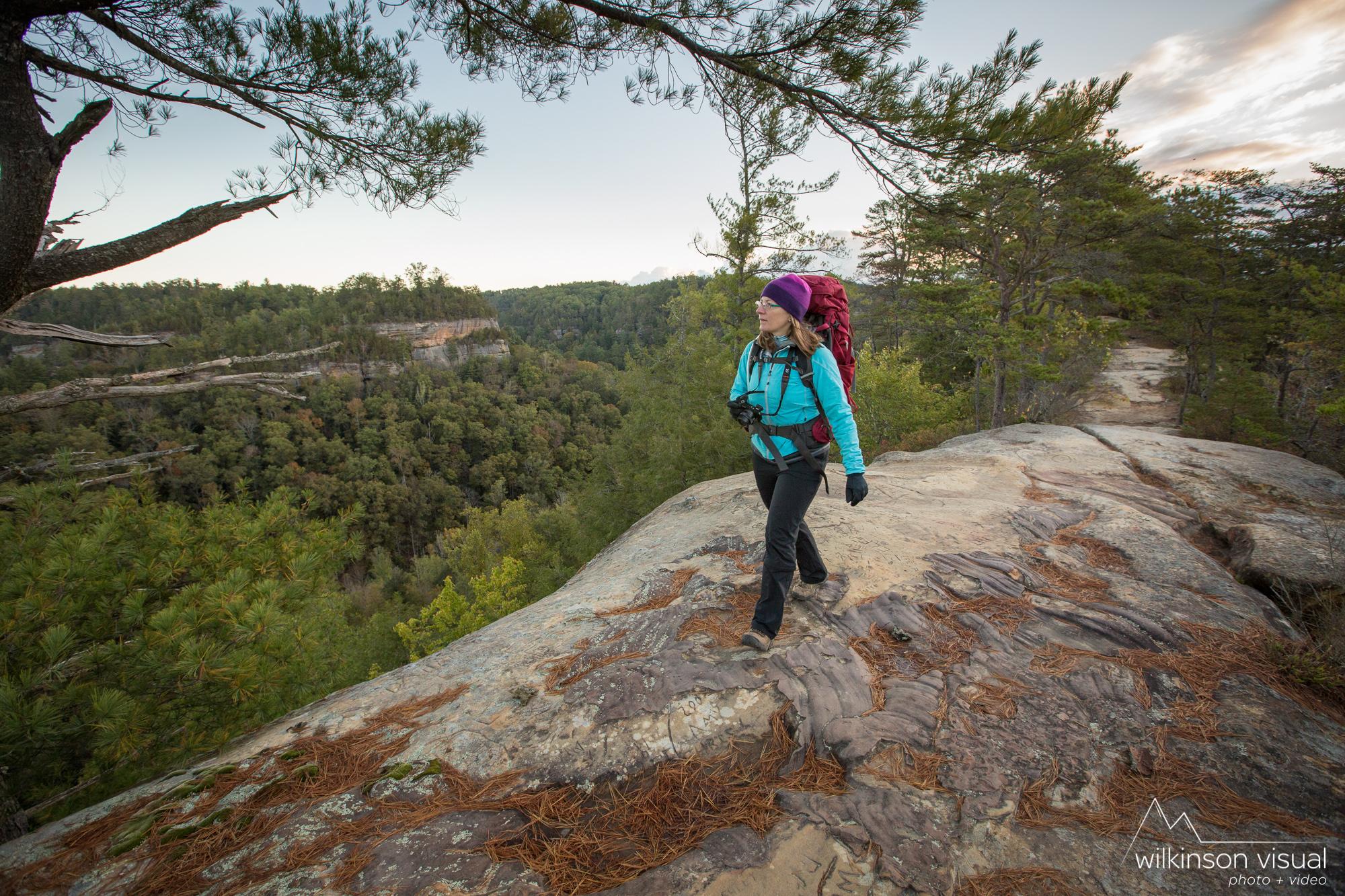 Jen Meunier backpacking along Sky Bridge Ridge in Kentucky.