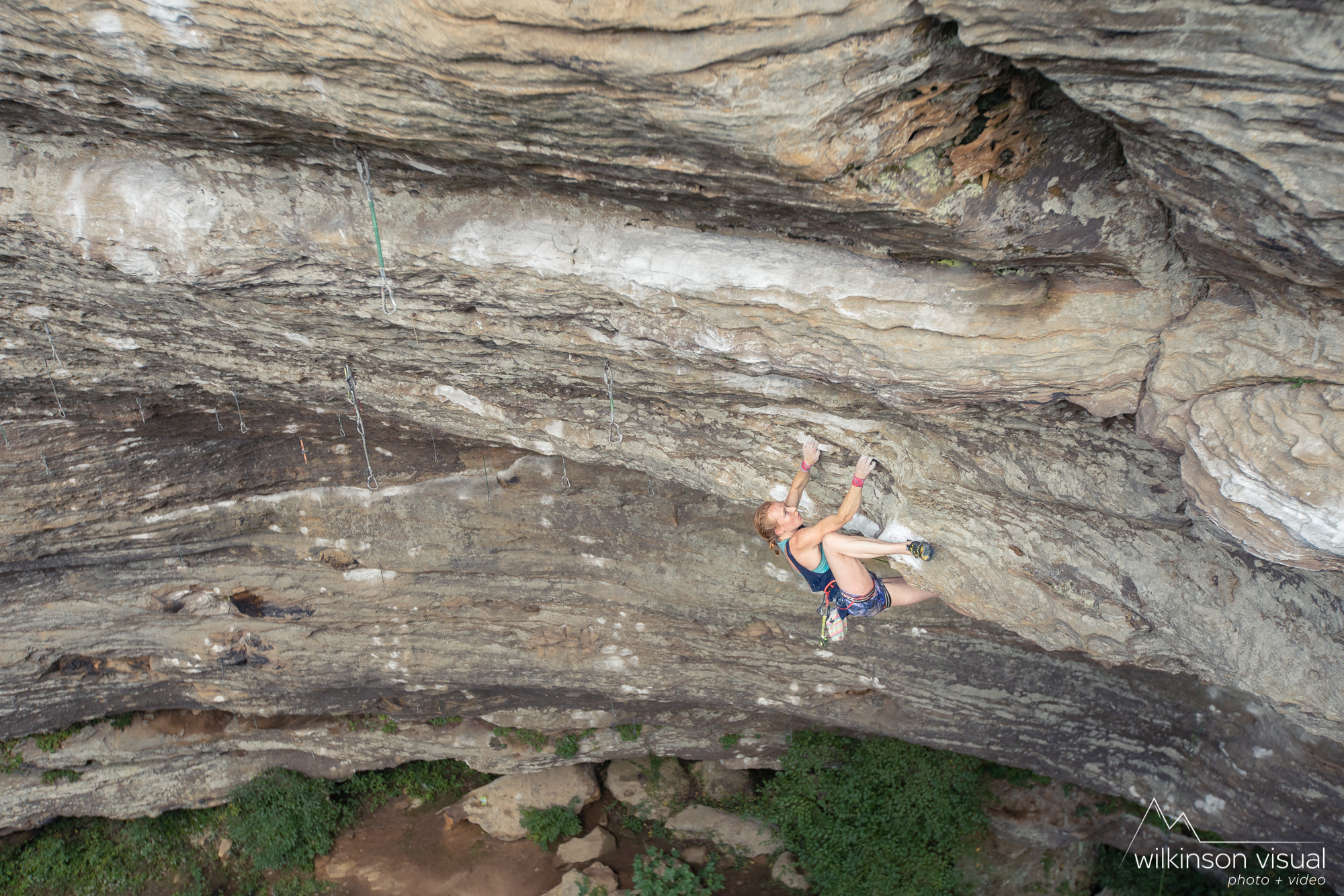 "Delaney Miller climbs ""The Madness"" 5.13c, in the Red River Gorge. Photo by @wilkinsonvisual - www.wilkinsonvisual.com"