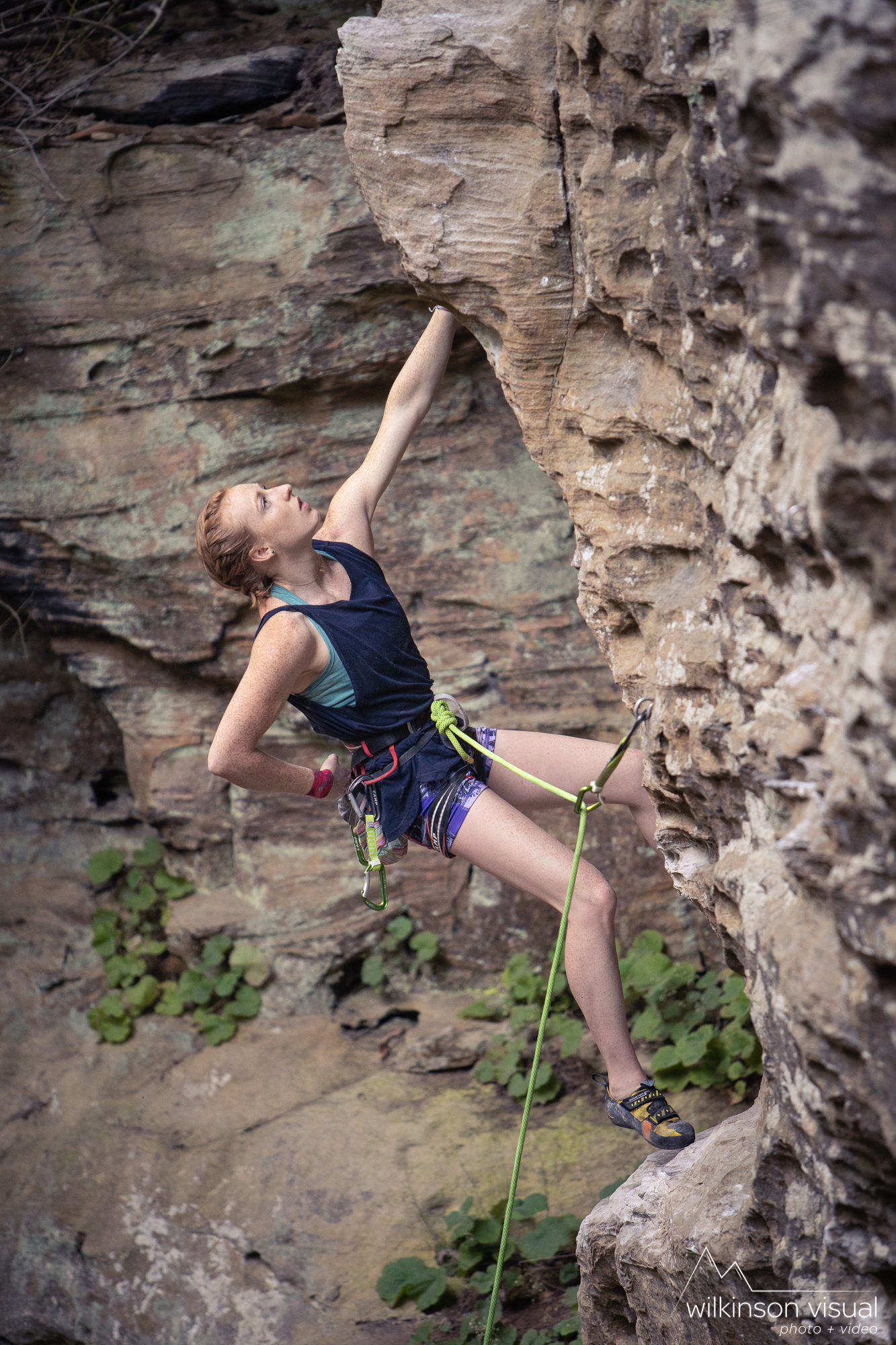 "Delaney Miller climbs ""Tuna Town,"" in the Red River Gorge. Photo by @wilkinsonvisual - www.wilkinsonvisual.com"