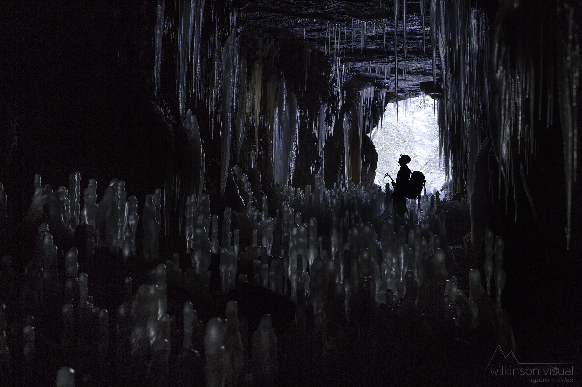 A hidden ice cave near the Red River Gorge.