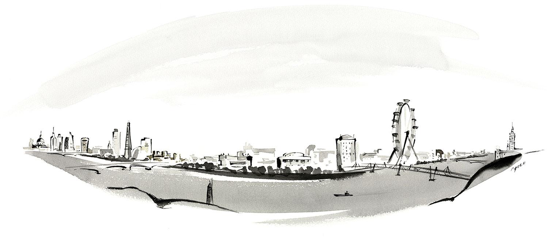Adelphi London illustration by Yoco Nagamiya