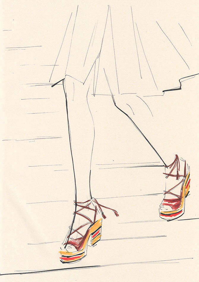 Yoco Nagamiya - illustrated favourite things 'Platform Sandals'