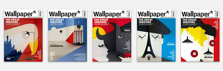 Noma Bar - Wallpaper* - 8 x Collectable covers   Noma Bar  has teamed up with  Wallpaper* Magazine  this month to offer a collectable series of 8 x international  themed covers , each only available in it's relevant country.  Covering  Scandinavia, Italy, Spain, Japan, Belgium, Germany, France  and the  USA , the intricate scenes are made up of painstakingly created set designs combining nation specific interior design and Noma's use of negative space imagery. The series was created as part of Wallpaper* Magazine's Global Design 2012 showcase, which you can see on their  website here .  -   www.dutchuncle.co.uk/Noma-Bar    www.wallpaper.com    http://www.wallpaper.com/art/wallpapers-limited-edition-noma-bar-posters/5671#59979    http://www.wallpaper.com/design/global-design-2012#belgium;250378