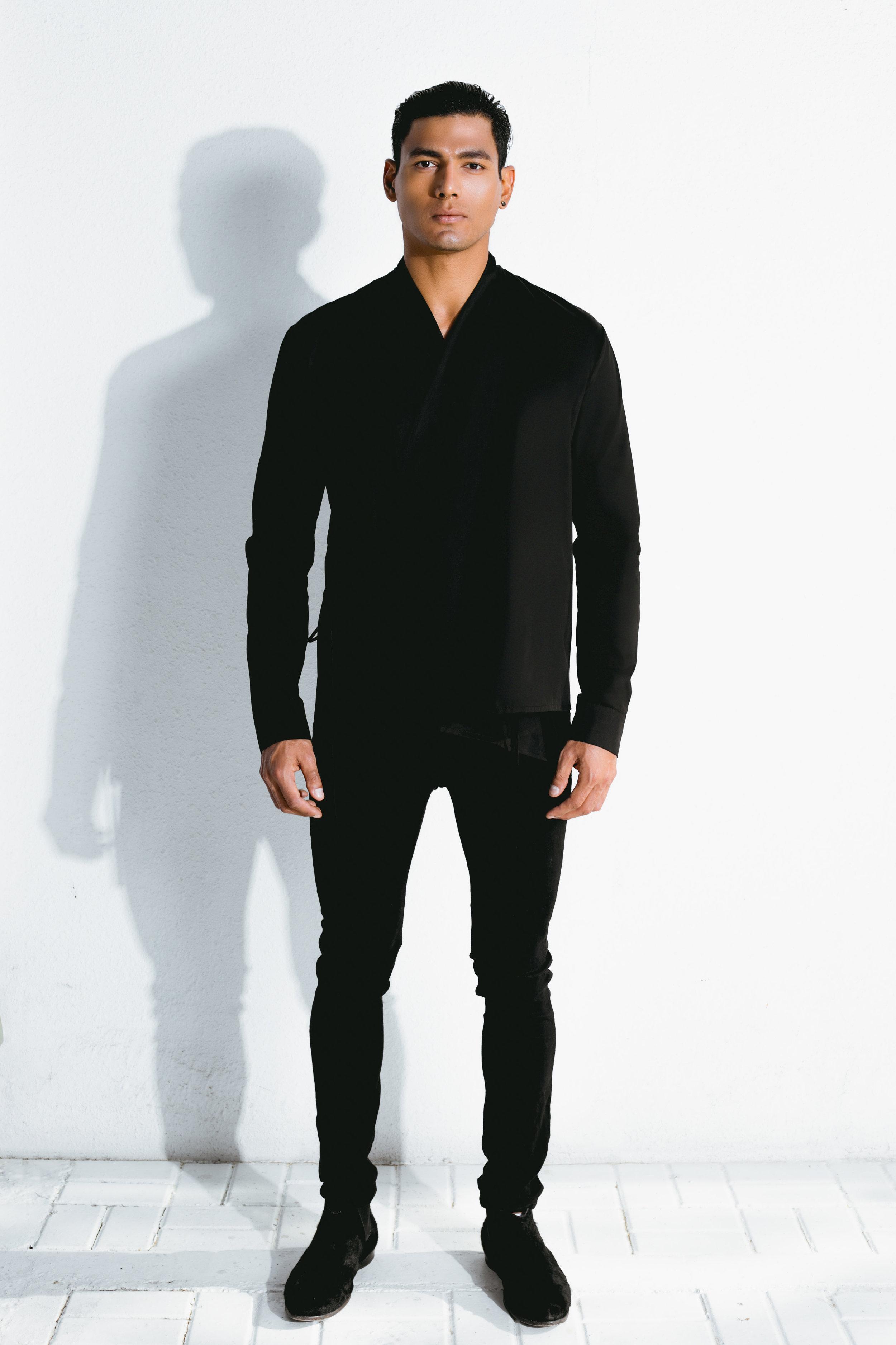 black wrap shirt