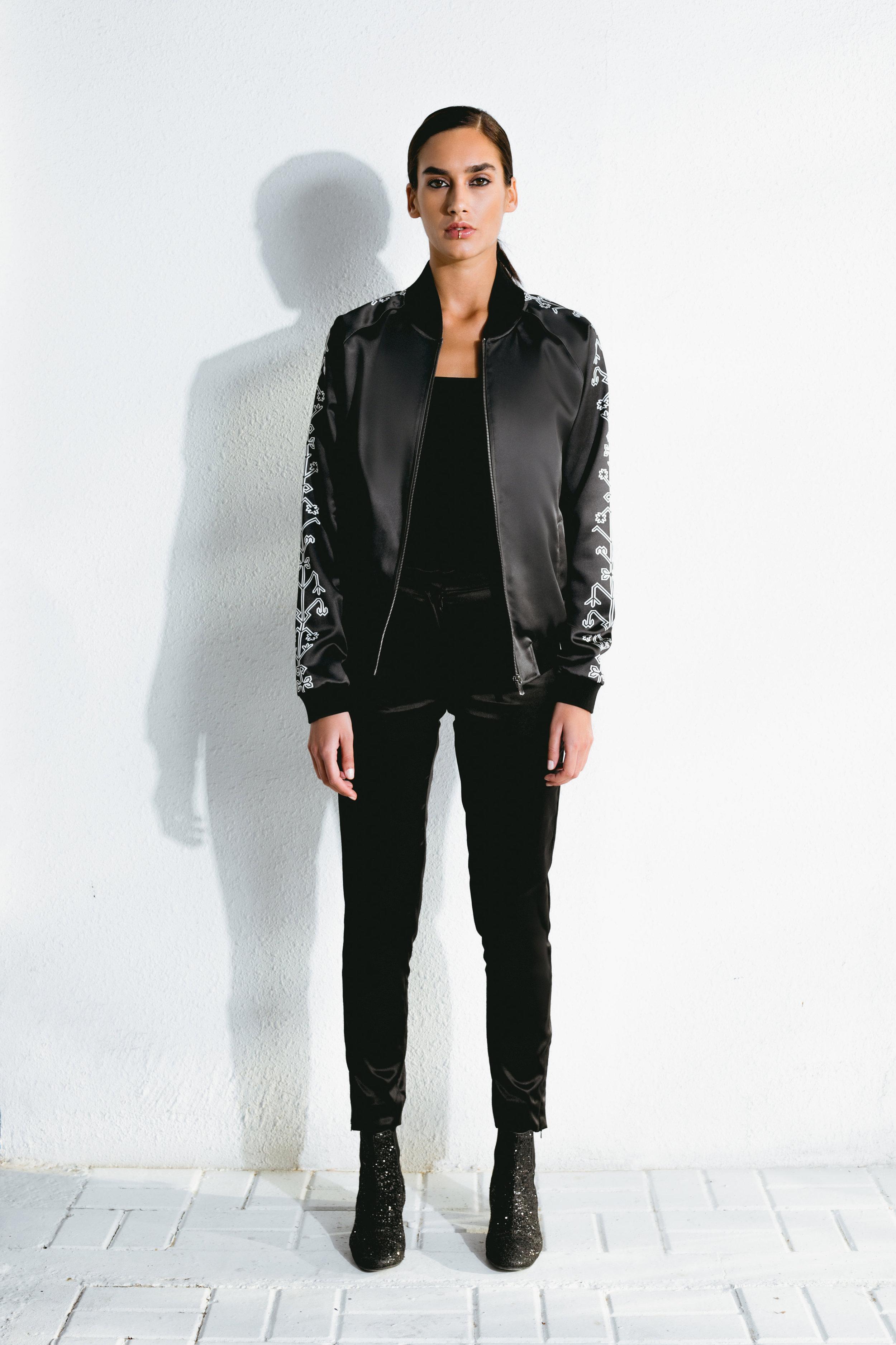 azilal pattern satin bomber & satin black pants