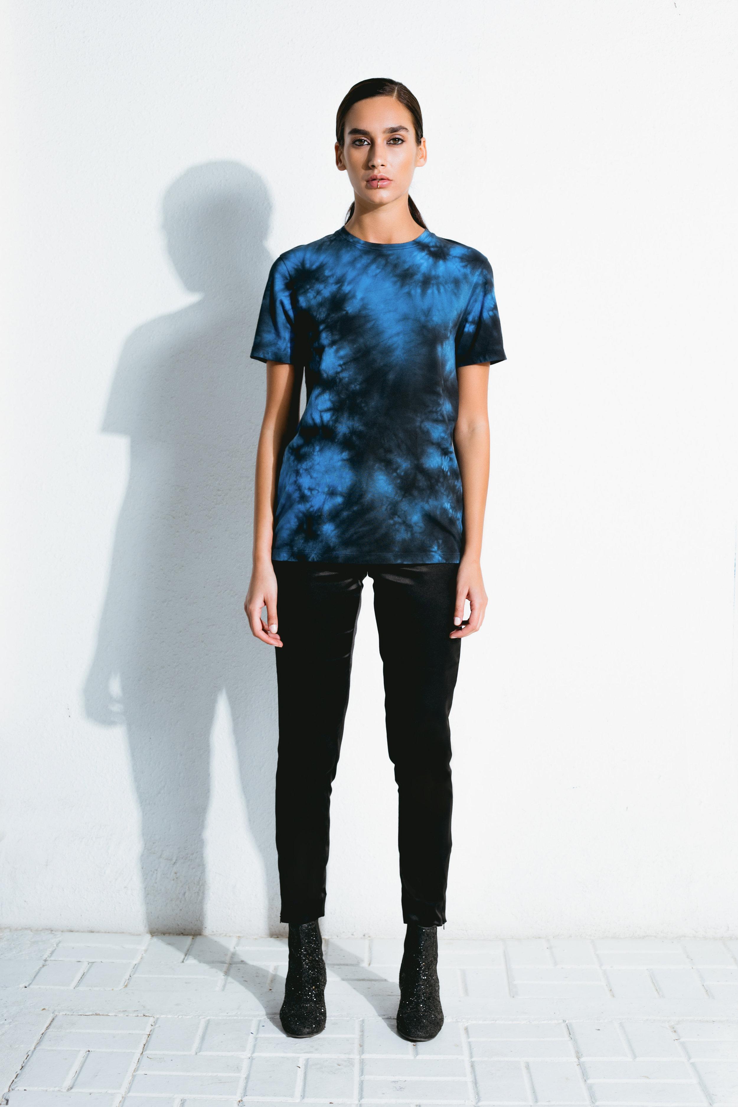 electric blue tie-dye t-shirt & black satin pants