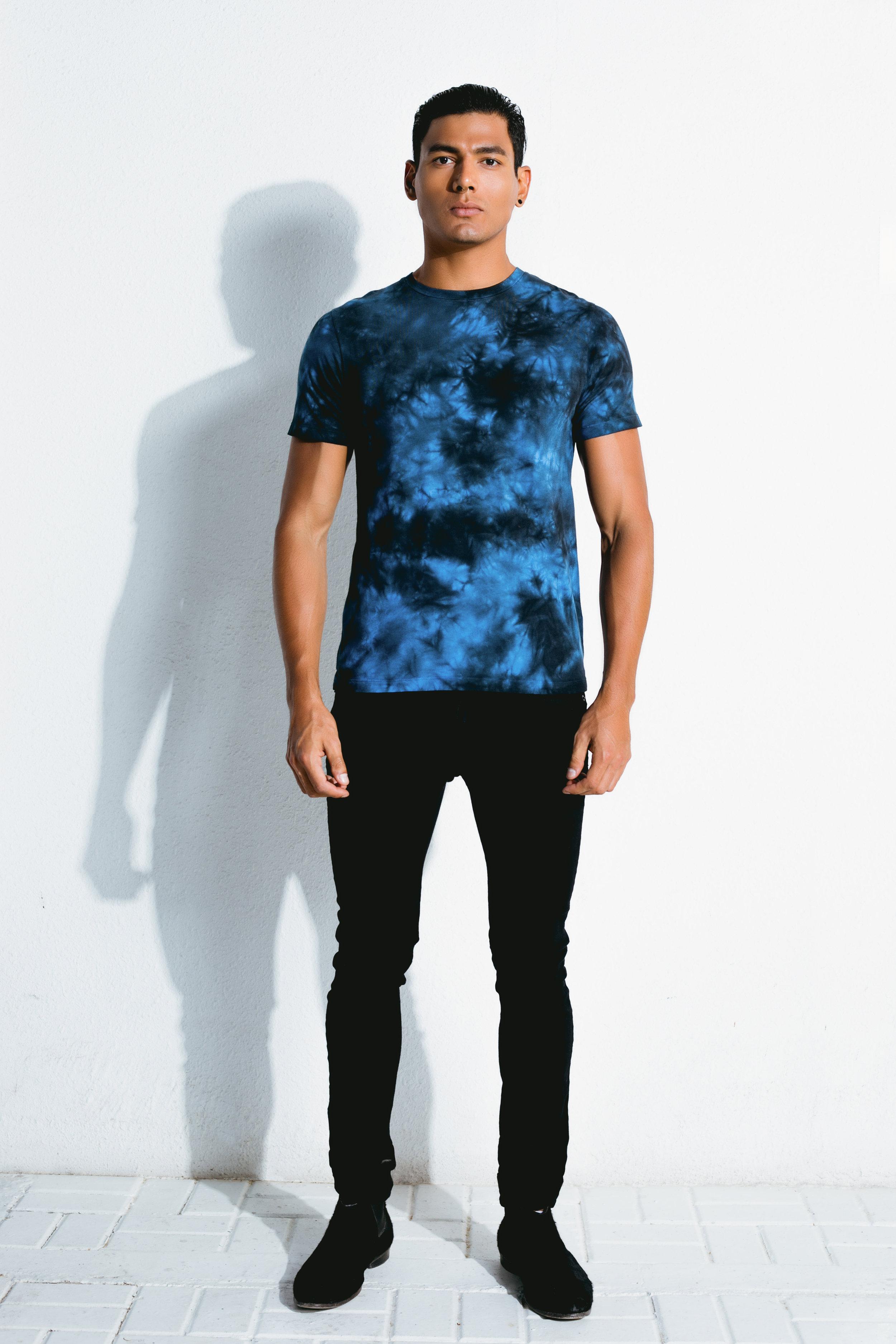 electric blue tie-dye t-shirt