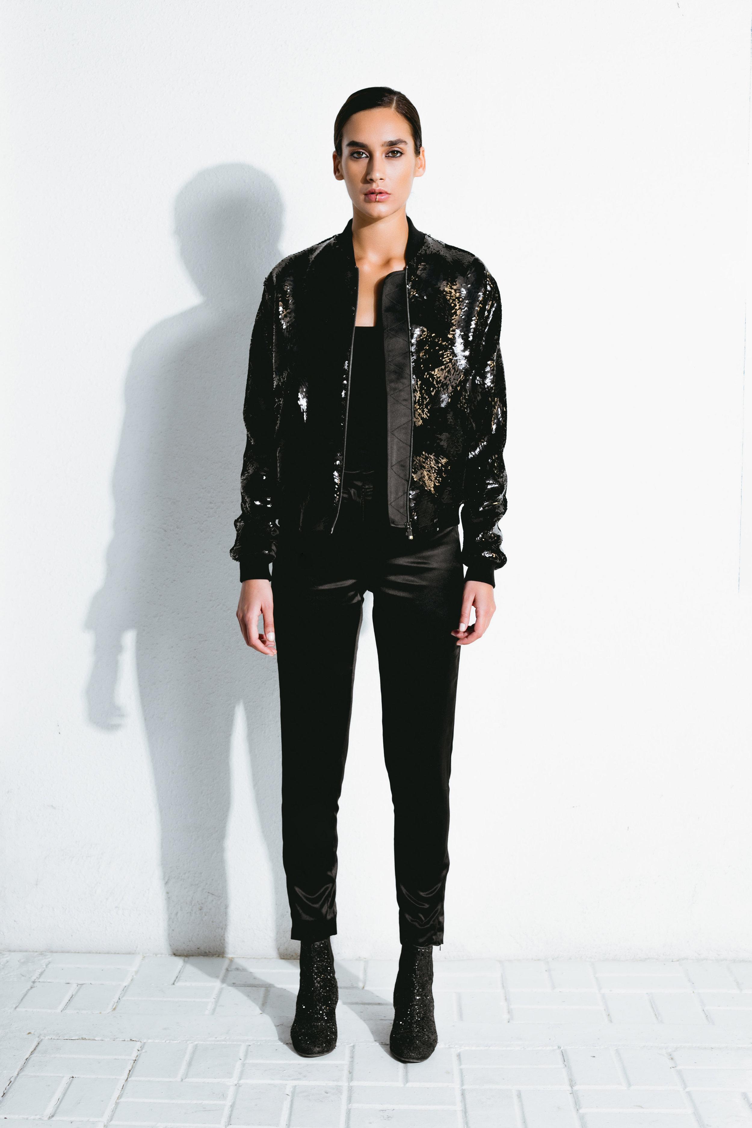 black cubist sequin bomber jacket