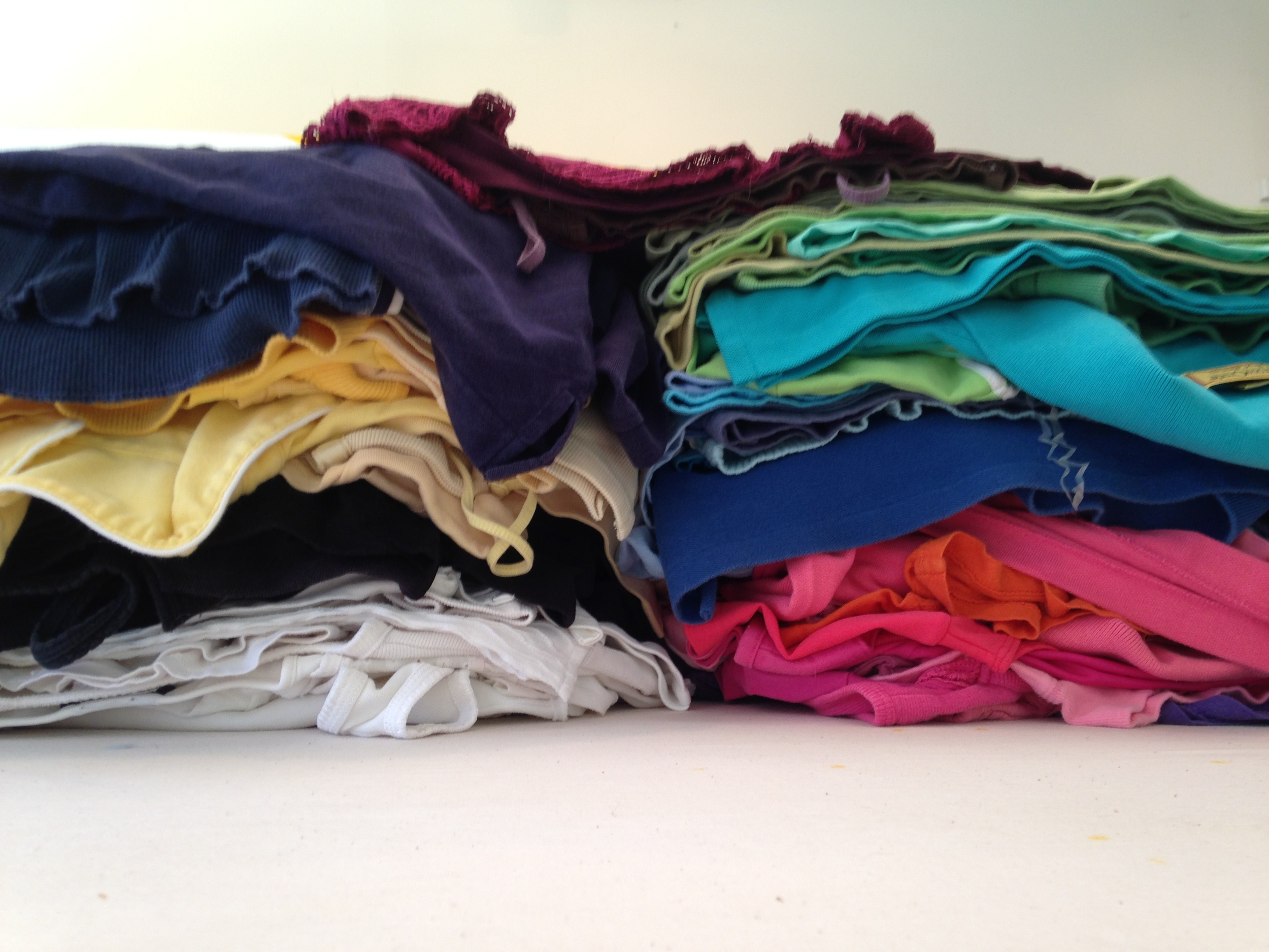 118 solid color t-shirts, sorted by color