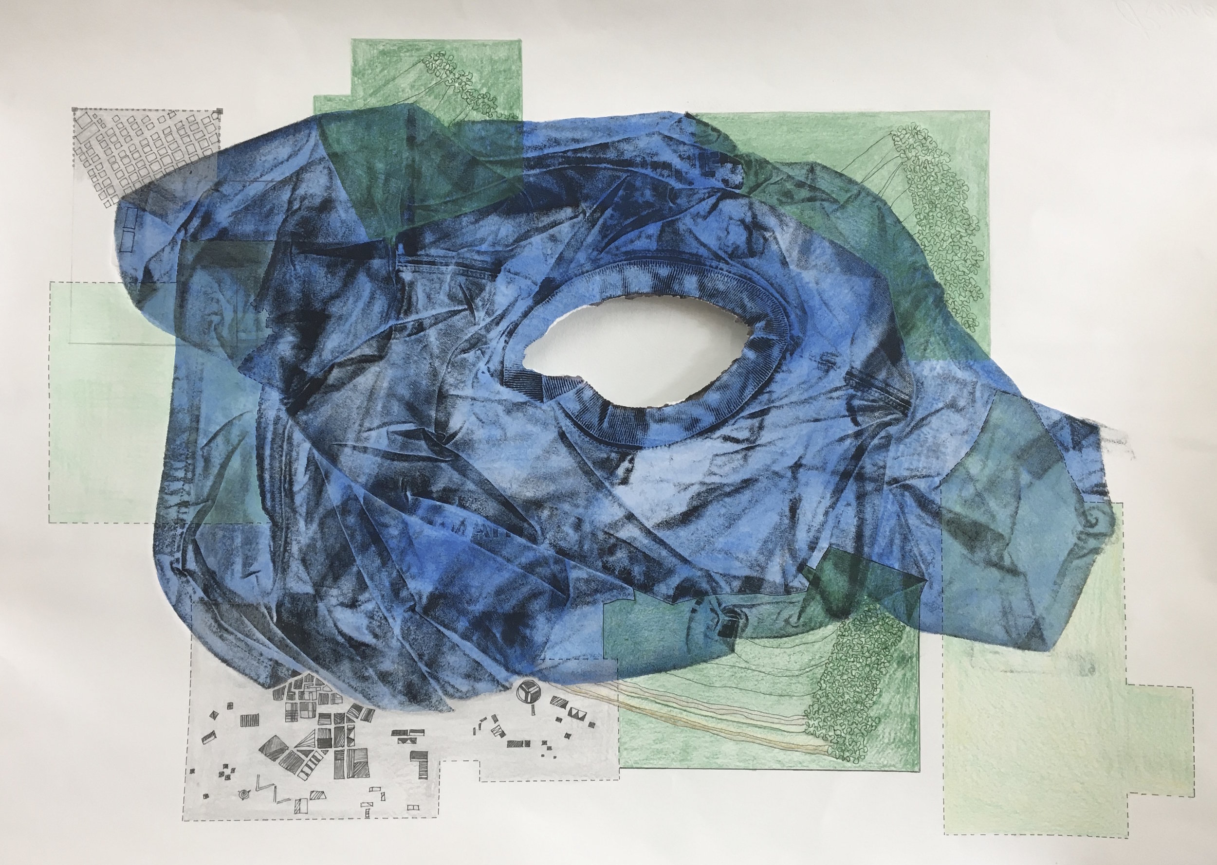 Blue, 2018, mono-print with hand drawing.
