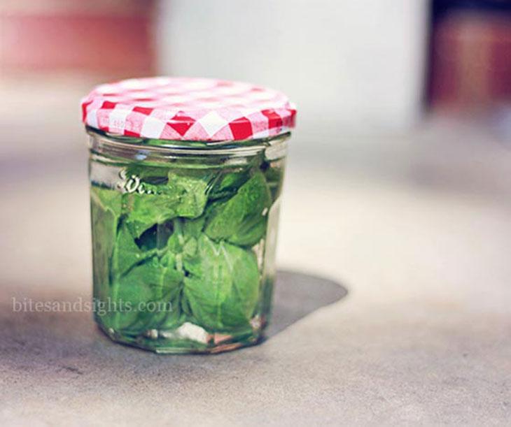 basil infused vodka in a glass jar