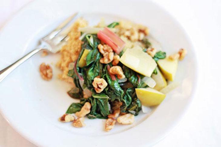 braised swiss chard over quinoa plated dish