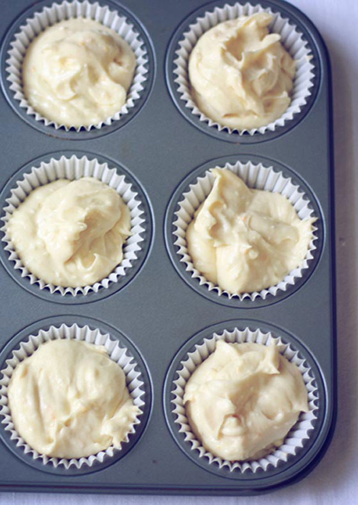 cupcake batter in the pan ready to bake
