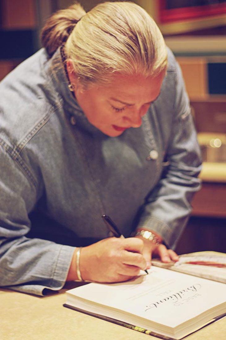 virginia willis signing my cookbook