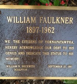Faulkner statue plaque