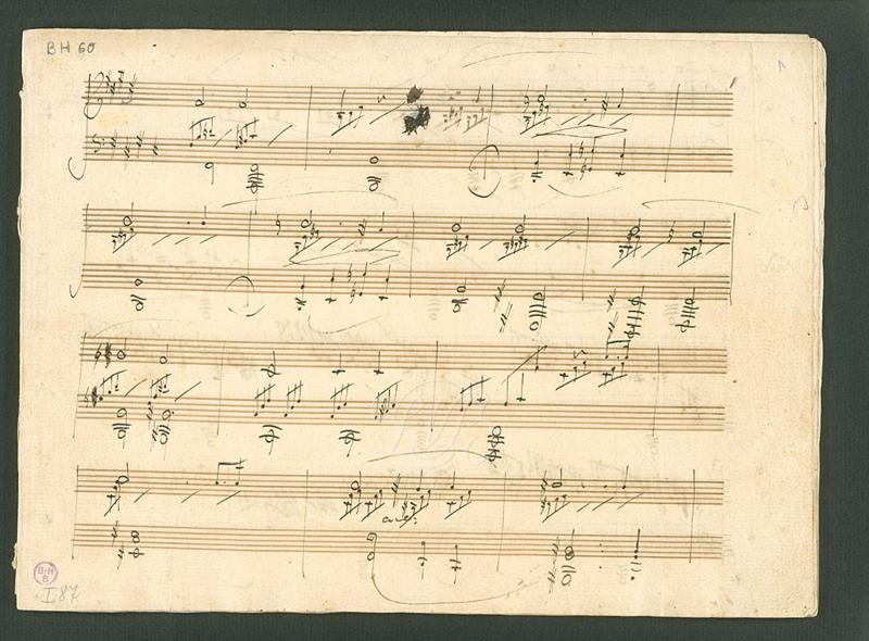 "Part of the Manuscript of Beethoven's Opus 27, no. 2--popularly known as ""The Moonlight Sonata"""