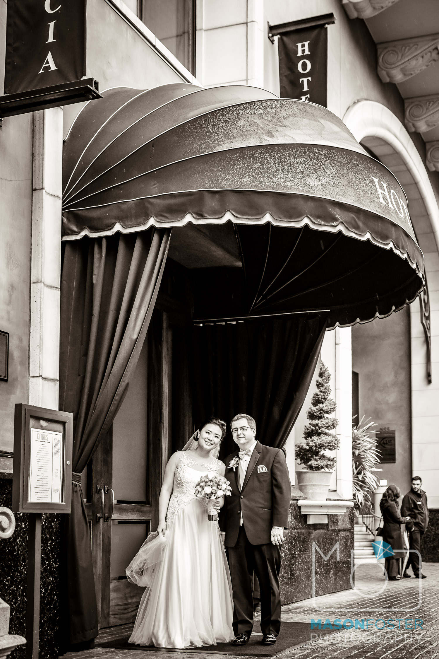The bride and groom at the Hotel Valencia.