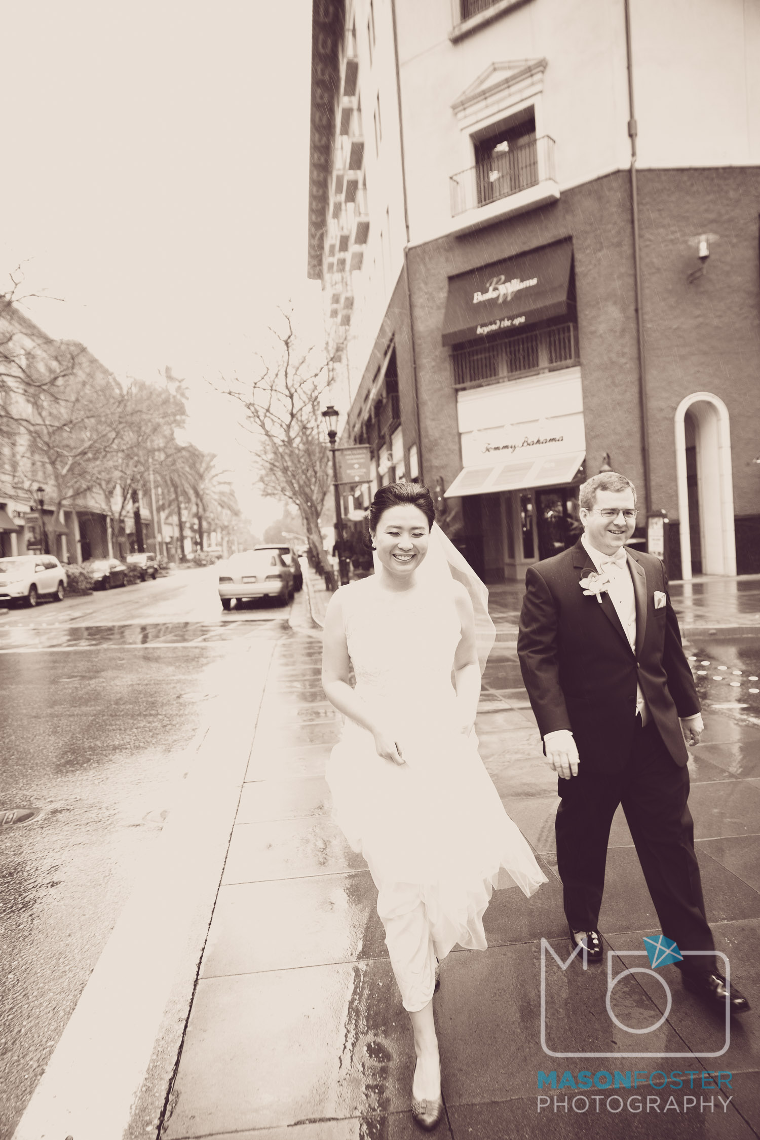 Rainy day wedding in San Jose.