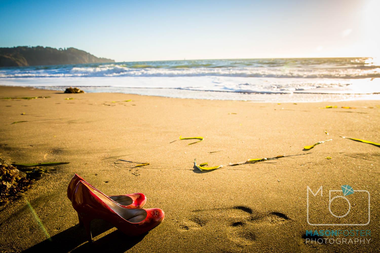 high heels on baker beach, san francisco - engagement photography