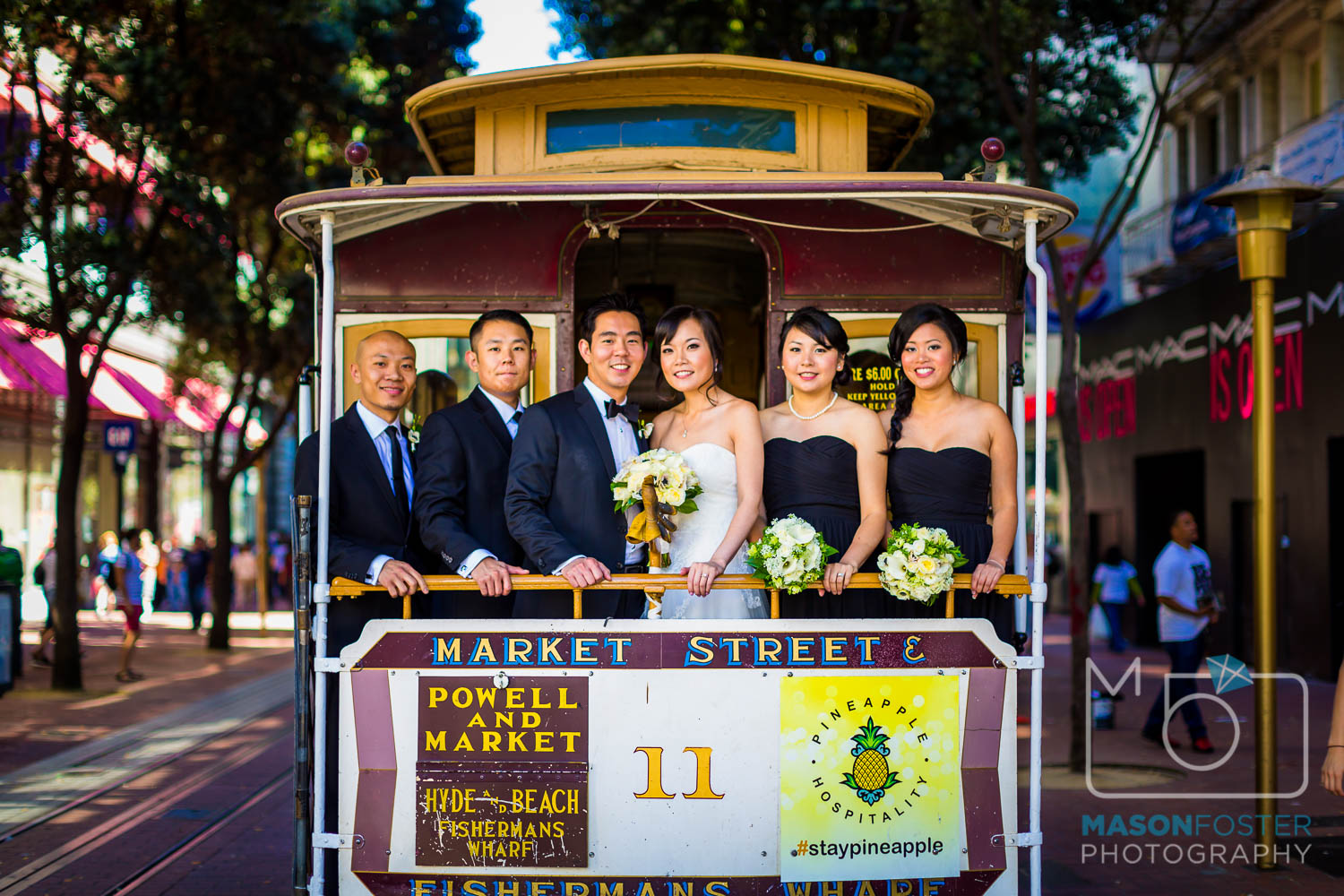 bridal party on cable car , wedding photography at the westin st. francis in san francisco