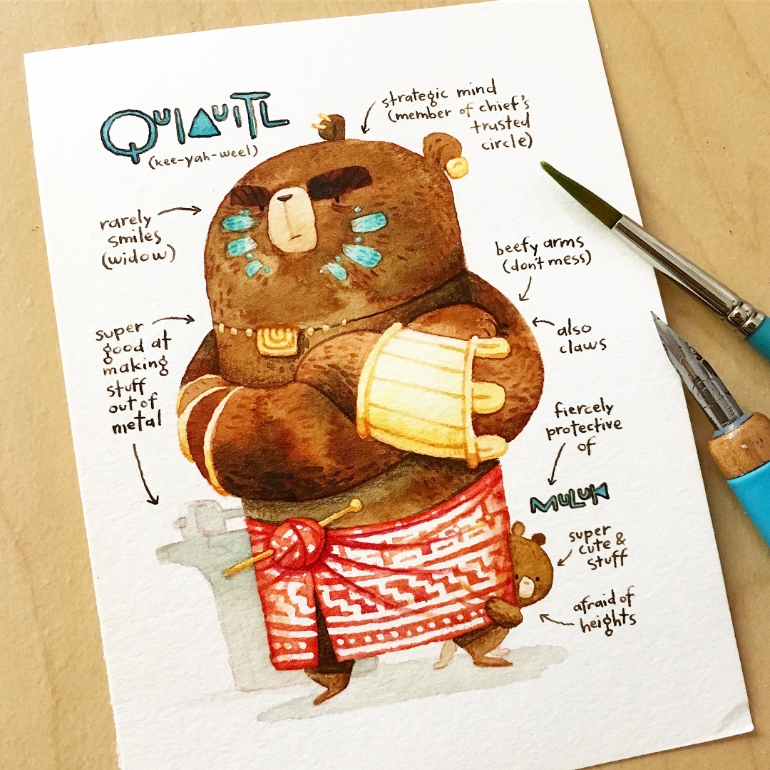 """Quia and Muluk, mother bear and son. Quiauitl is the Mayan word for """"rain"""" and muluk is the Aztec word for """"water""""."""