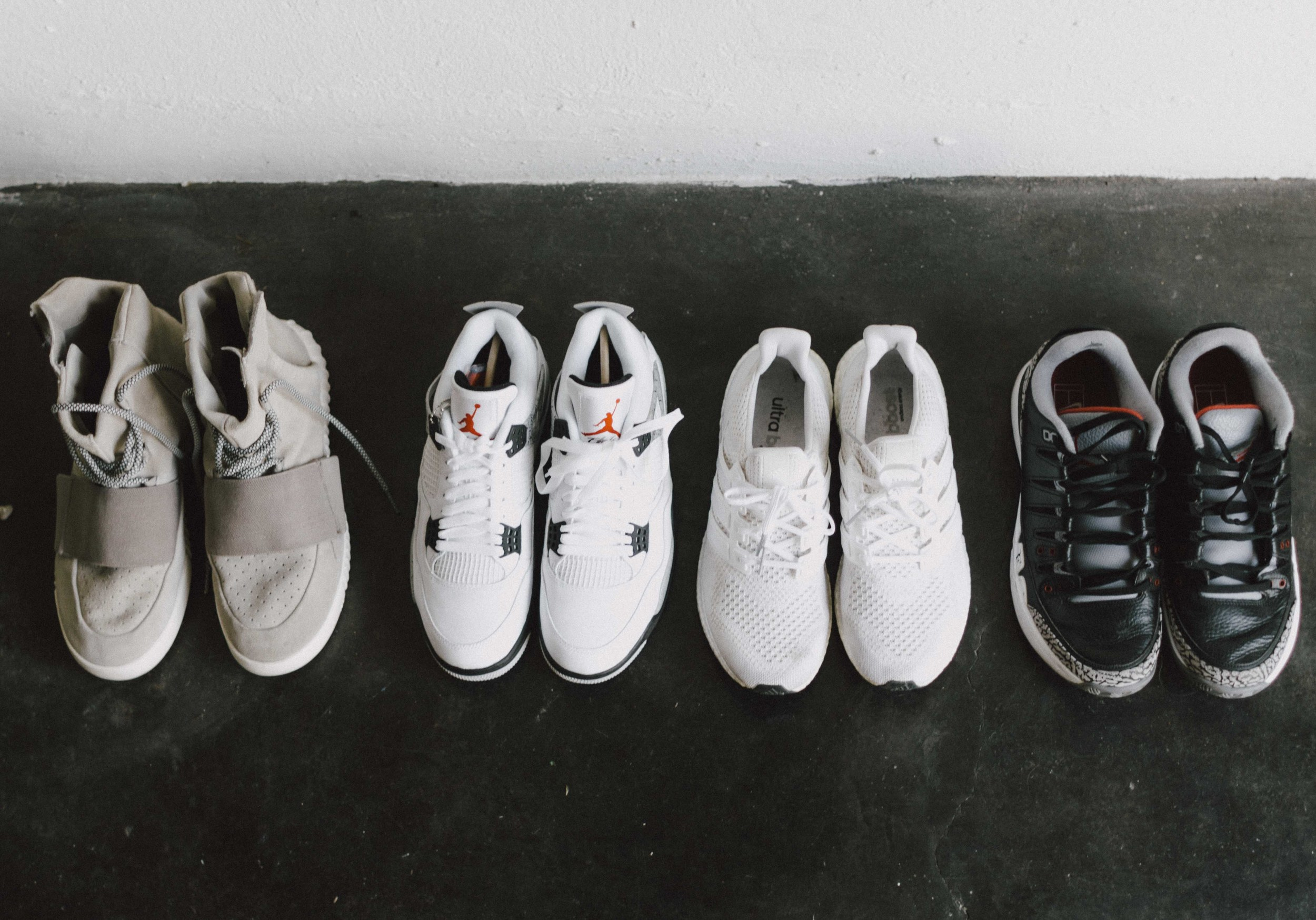 "Nike AJ3 RF Vapor Zoom Black Cement,  adidas Ultra Boost ""Triple White"",  adidas Yeezy Boost 750,  Air Jordan IV White Cement"