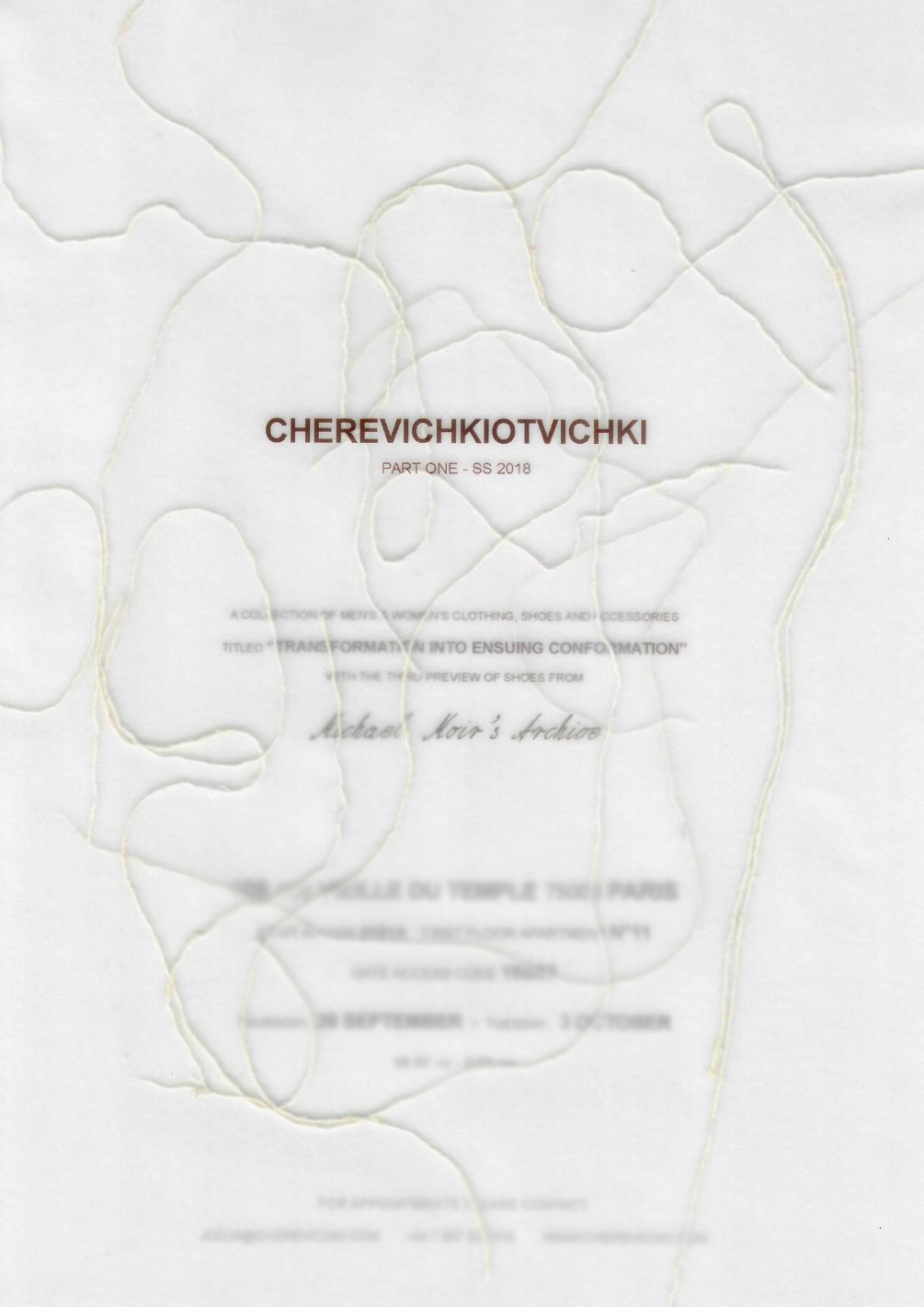 "'A Collection of Men's & Women's clothing, shoes and accessories titled ""TRANSFORMATION INTO ENSUING CONFORMATION"" with the third preview of shoes from Micheal Moir's Archive.'   'A shoe by Victoria', in the old Slavic language translates to the name of the clothing atelier 'cherevichki ot vichki.' The shoes are hand-made, natural dyed leather with wooden soles, using traditional Baltic techniques. Accessories include leather bags of the same quality and a collection of hand-dyed garments reminiscent of (to my eye) what was worn as undergarments in the late 1800's. It took me a week to get comfortable saying it, but now it's my favorite word. Cherevichkiotvichki. Try it."