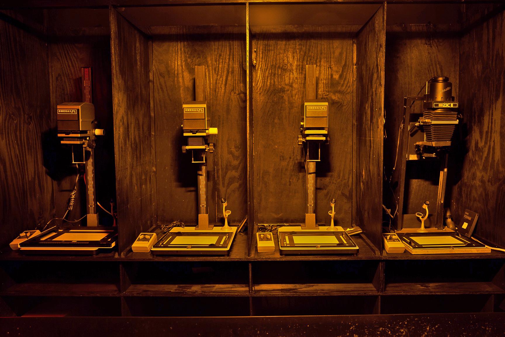 35mm Omega & Beseler enlargers in gang B&W darkroom
