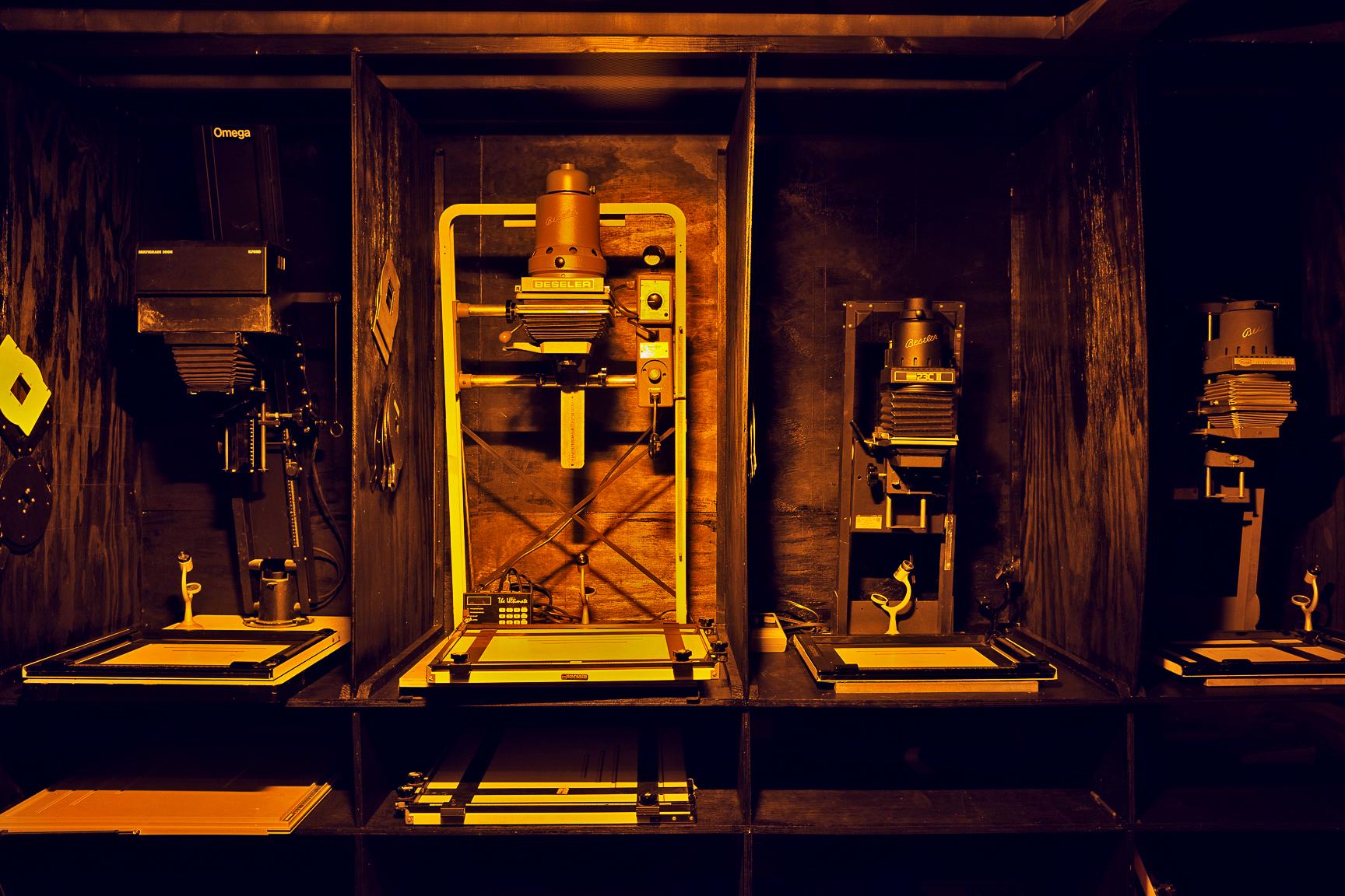 120 & 4x5 Omega & Beseler enlargers in gang B&W darkroom
