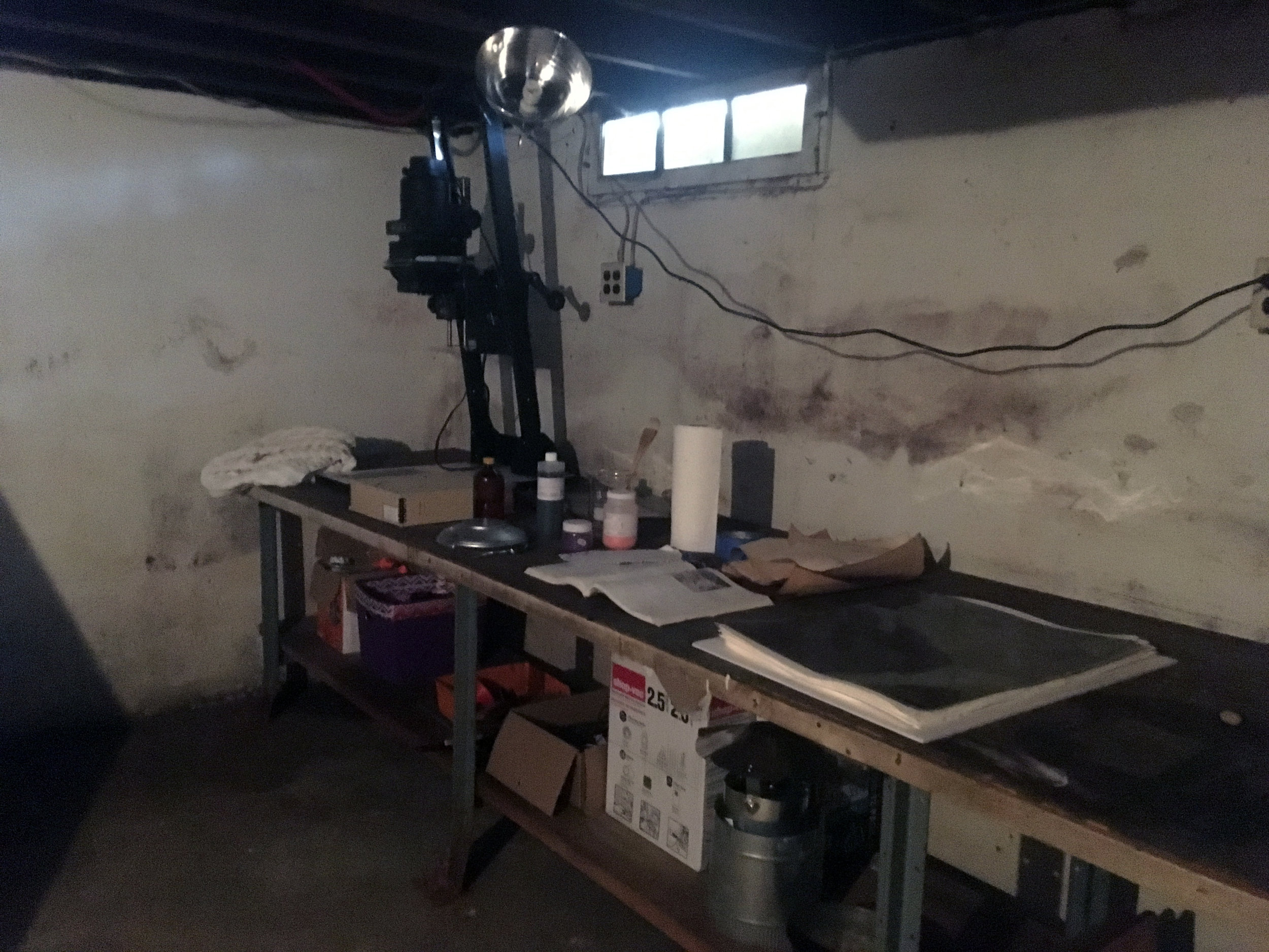 The cabin has a full basement that we are in the process of setting up a rudimentary darkroom in. It will never be fancy but it will be sufficient.    NO DRUGS