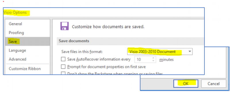1. Set Visio File Format - VERY IMPORTANT! These instruction were part of the installation procedure and checklist, but worth mentioning again.\powerDRAW 4.0 is only compatible with the Visio 2003-2010 VSD file format. It is not compatible with the newer Visio 2013-2016 VSDX file format. This format change must be made for powerDRAW on all compatible versions of Visio - including Visio 2019.Go to the File > Visio Options > Save tab. Select the Visio 2003-2010 VSD file format. Click OK