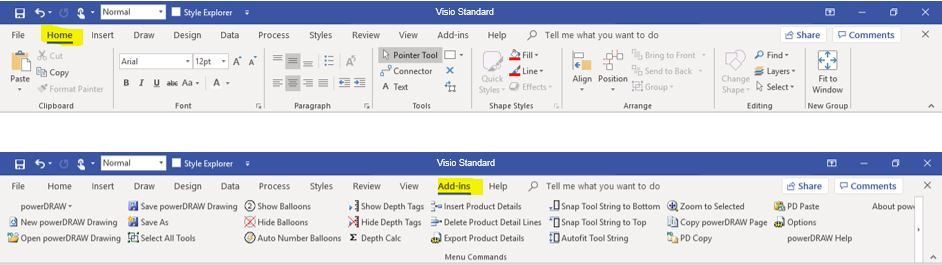3. Tool Bar Add-Ins Tab - Once powerDRAW opens, you will basically have the Visio Tool Bar and the Add-Ins Tab for powerDRAW.The most commonly used tabs are the Home Tab and the Add-Ins Tab which can be sorted out into 3 sections.