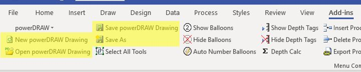 - To the left in the Add-Ins Tab your will find the File Management Buttons for Opening Templates, Opening Existing Drawings and the Save/Save As commands.