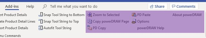 - In the far right of the Add-Ins Tab you will find some Auxiliary Buttons for miscellaneous tasks such as Copy powerDRAW Page (the whole page) or just Copy and Paste between drawings to ensure all the icon properties carry over.