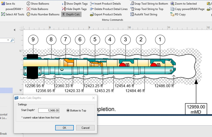 Auto Depth Calculation and Balloon Numbering - Complete your string drawing and then automatically tag tools with balloons in sequence, up or down. Set your bottom tool depth and automatically calculate string depth to surface.