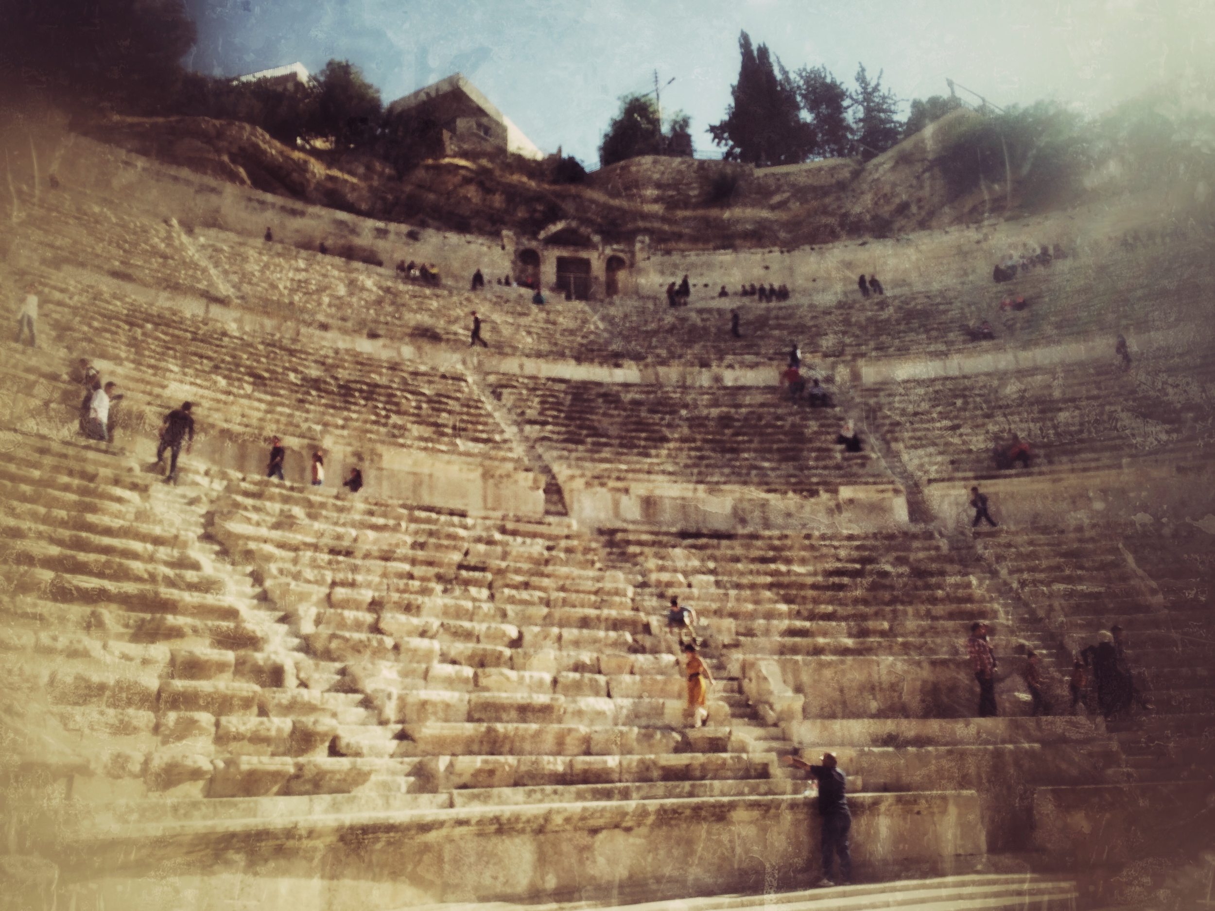 From the floor of The Roman Arena (Ok, Amphitheater) in Amman, Jordan. October 2014