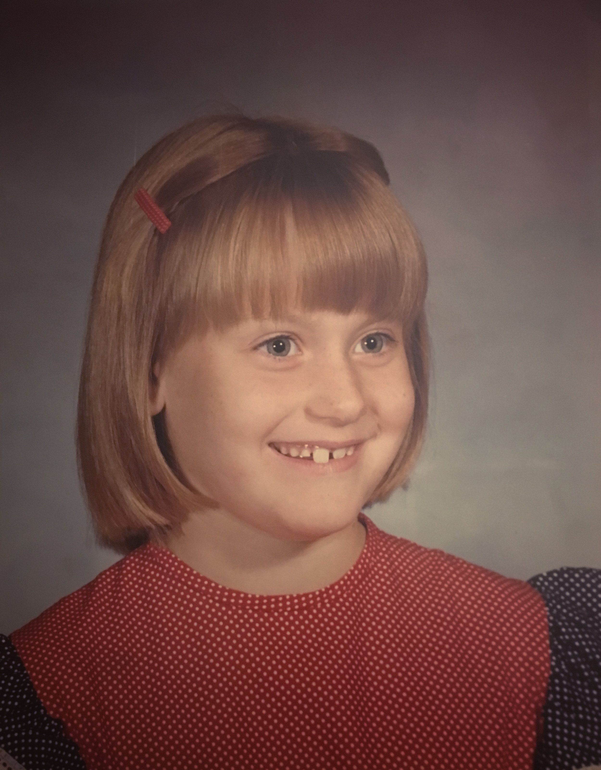 My 2nd grade school picture. And yeah, that's a red, white, and blue dress. 'Merica!