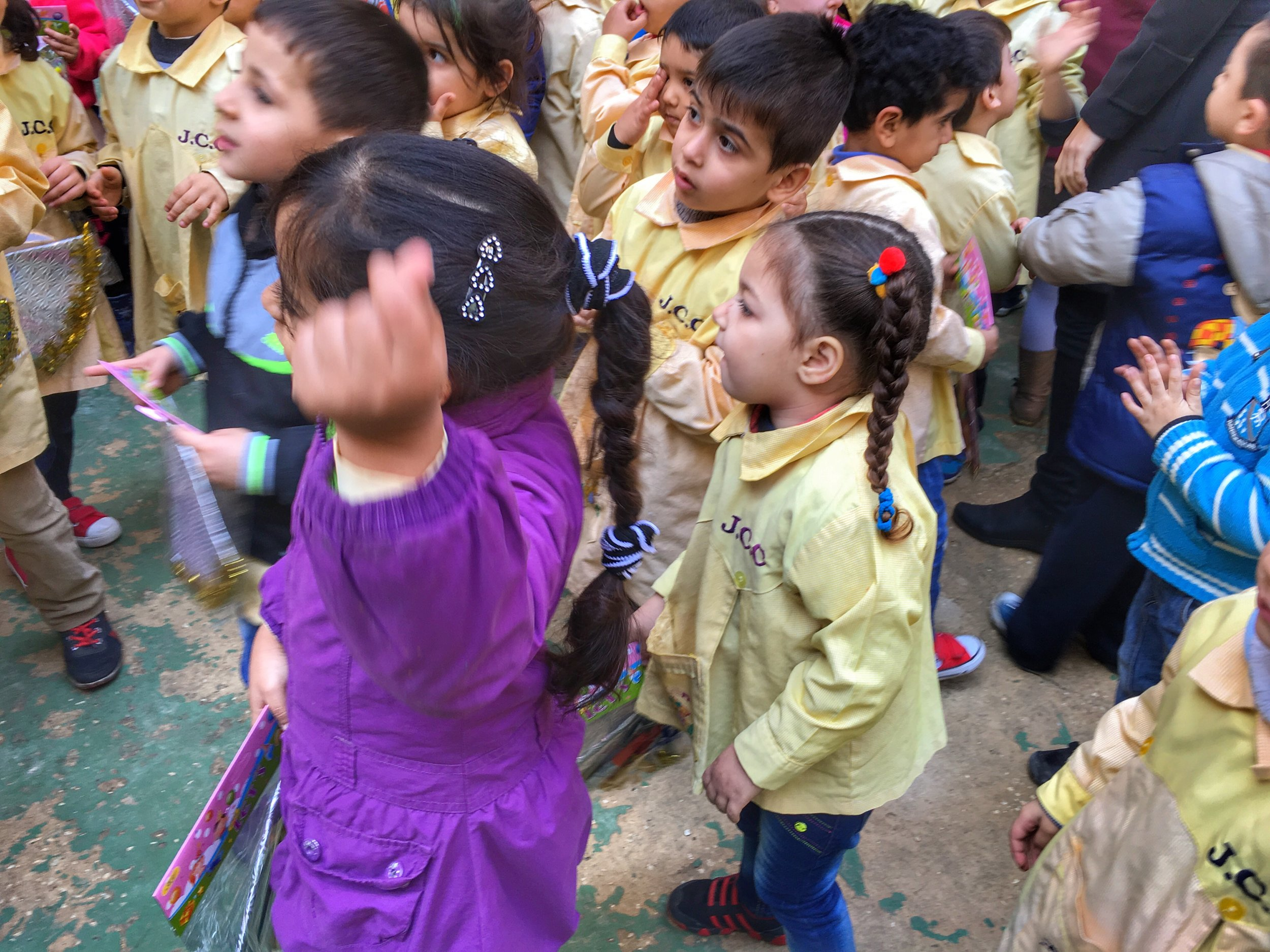 Palestinian refugee children dancing at a party at JCC Sabra Center in Sabra, Beirut, Lebanon. December 2015.