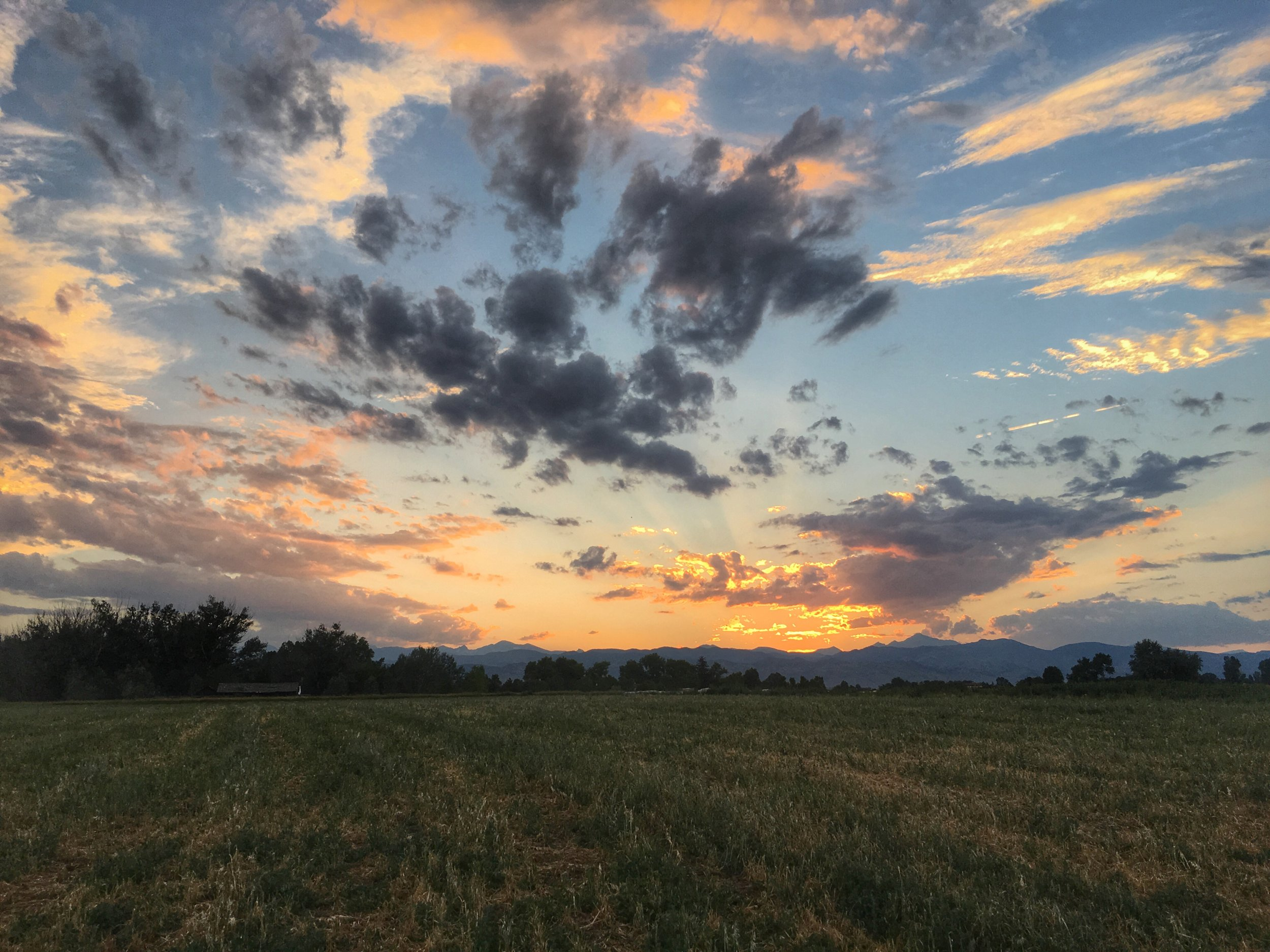 Sunset over the Rocky Mountains. Boulder County, Colorado, USA. July 22, 2017.