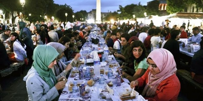 At sunset, Muslims gather to break the daily fast in Ramadan with a meal called Iftar.